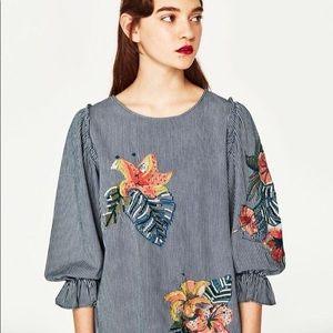 NWT Zara Embroidered Hawaiian Flower Cuffed Blouse